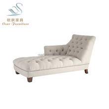 Indoor Beige Linen Button Tufted French Style Chaise Lounge