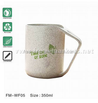 Wheat Straw Wide Mouth Shatterproof Plastic Cup Biodegradable Mug Tumbler for Water, Coffee, Milk,Tea