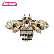Jewelry Charming gold plated 100mm large crystal insert bee brooch pins