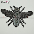 Keering 3D New Designs Popular Custom Black Honeybee Toothbrush Embroidery Beaded Applique patches for Clothes WEFC-005