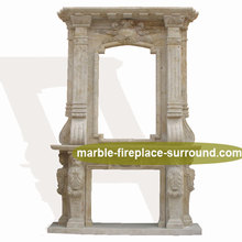 hand carved natural stone gas fireplace mantel