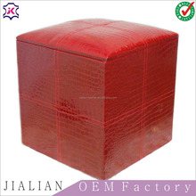 Leather storage cube leather Contrast Stitch Square Cube Ottoman Footstool