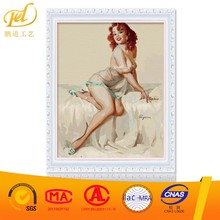 2017 New Style Sexy Hot Open Cloth Women Image Handmade Artistic Wholesale Diy Oil Painting Paint Art On Canvas By Number a241
