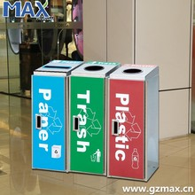 large capacity brushed stainless steel recycle trash can dustbin type