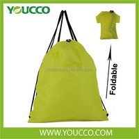 Newest Waterproof Foldable Promotion drawstring shopping bag t-shirt shaped backpack