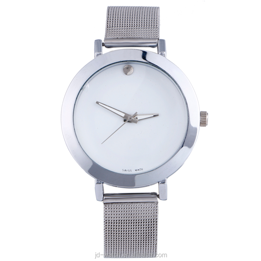 Fashion Simple and generous Women Lady silver mesh ribbon band wrist watches