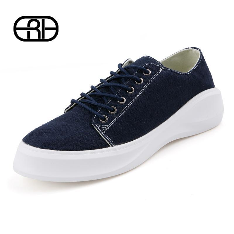Autumn New Fashion Men Shoes New Hot Sale Spring Mens Sneakers Canvas Shoes Casual Breathable Hemp Fabric Flat Shoes