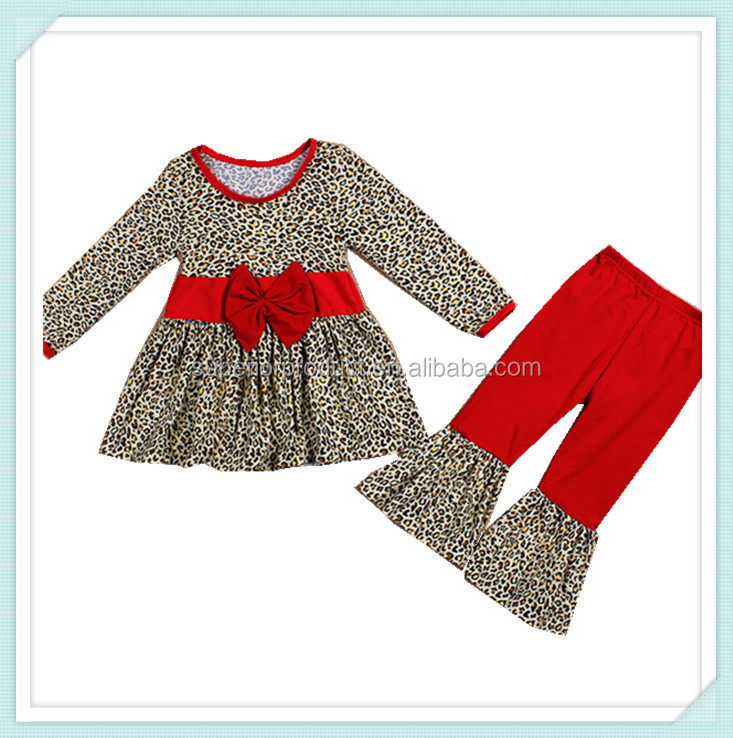 high quality children outfits leopard print pants with long sleeves blouse autumn clothes fall outfits for girls christmas