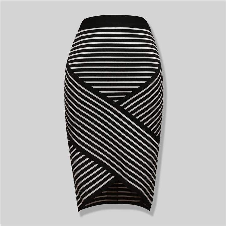 High Quality Sey Striped Irregular Bandage Pencil Skirt New Arrival 2015 Elastic Bodycon Skirts