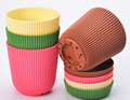 Plastic 6 Multicolored Circle Flower Plant Pots / Planters with Saucer Pallet