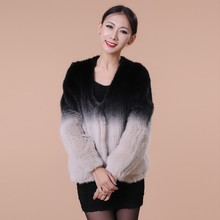 2016 New Style Modern Design Weave Real Mink Fur Coat