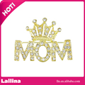 Mother's Day Brooch Pin Rhinestone Crystal Crowned Mom Word Crown Brooches Pins