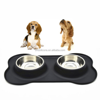 Fashion Wholesale Printed Cheap Customize Stainless Steel Dog Bowl with No Spill Non-Skid Silicone Mat
