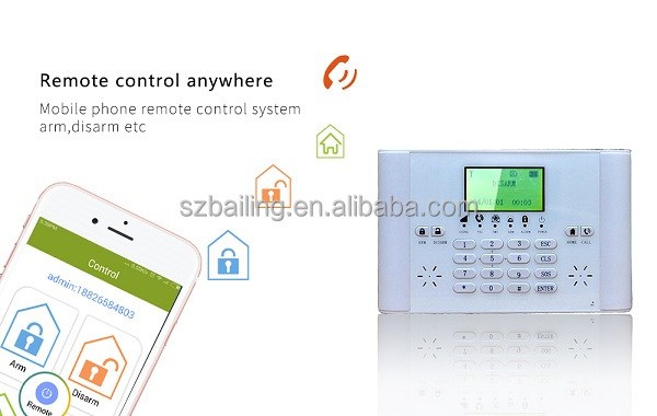 High quality home gsm alarm support 5 group sms,voice call alert (BL-6000G)