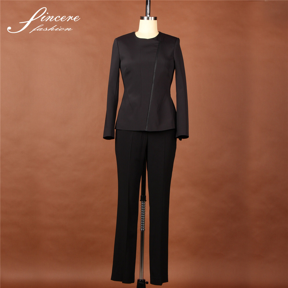 Ladies black polyester elastane office lady fashion suits