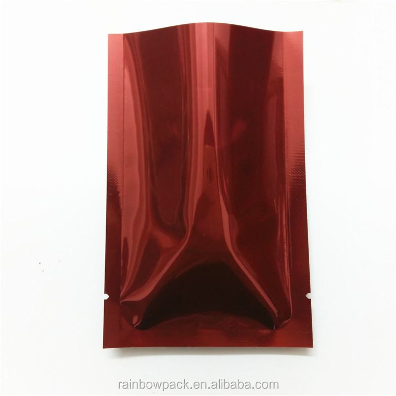 Metalized Mylar Flat Bags Three Side Seal Mylar Bag Printed Red Mylar Pouch