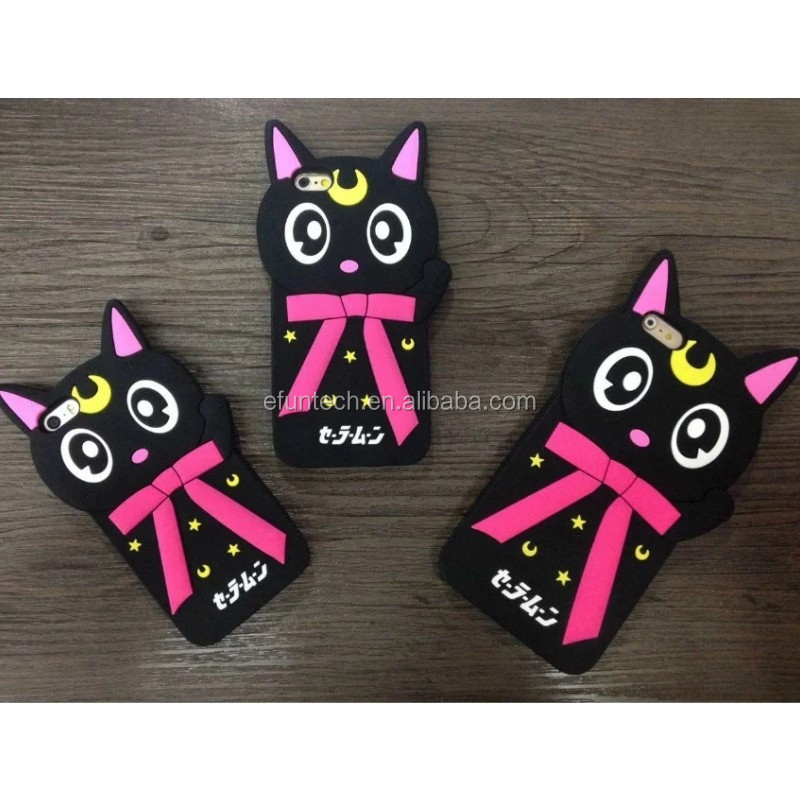 Hot sale mobile phone accessory black cat silicon silicone mobile phone back cover for iphone 5 5s SE case