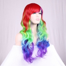 Queena Cartoon clip color curly hair Heat Resistant Synthetic Animation Cos Wig