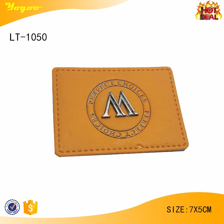 Exquisite rectangle yellow beanie blank leather patch label for hats