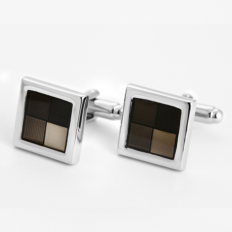 Square black enamel cufflink antique enamel epoxy metal cufflink