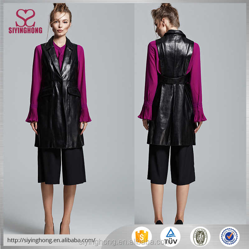Fashion Sleeveless long design black leather women new trend winter overcoat for ladies
