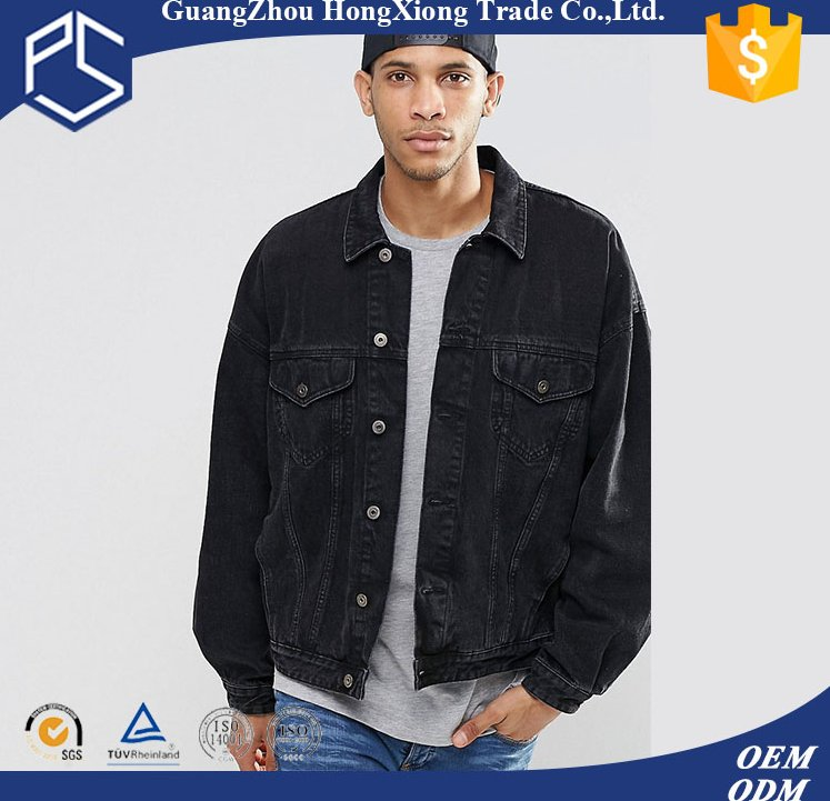 Guangzhou Custom Plain Low Priced Qualitied Fashionable Button Pockets Wholesale Mens Black Denim Jacket