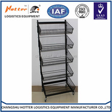 Hot sale zinc plated five and a half tiers display wire rack supermarket bread display shelf