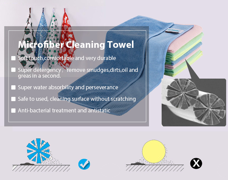Durable strong water absorbability microfiber kitchen cleaning towel with seam edge