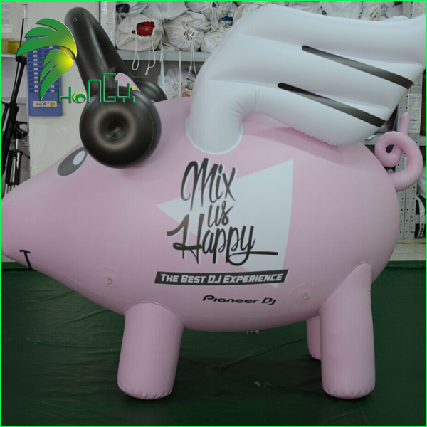 Event decoration advertising inflatable pink flying pig