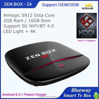 4GB Ram 16GB Rom Android TV Box ZEN BOX Z4 Amlogic S912 With KODI/XBMC Pre-installed 1000M Dual Band Wifi HDR