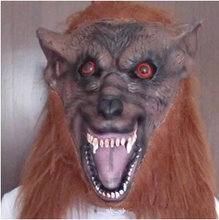 Brown Latex material Scary halloween decoration wolf head mask