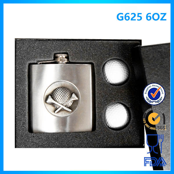 G625 180ML/6OZ Wholesale custom 18/8 stainless steel wrapped hip flask with silk logo