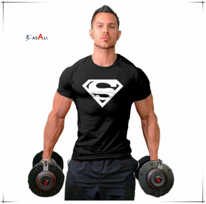 2016 new arrival dri fit super man sign printing t shirt
