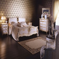 Italian Style Luxurious Gold And White King Queen Size Bed, Palace Wooden Bedroom Furniture