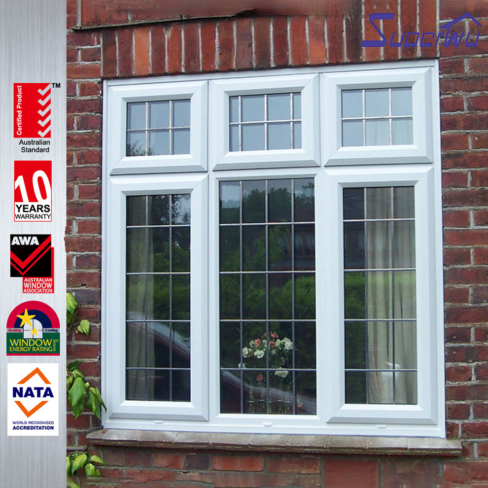 American/European style safety lock pvc/upvc sliding window