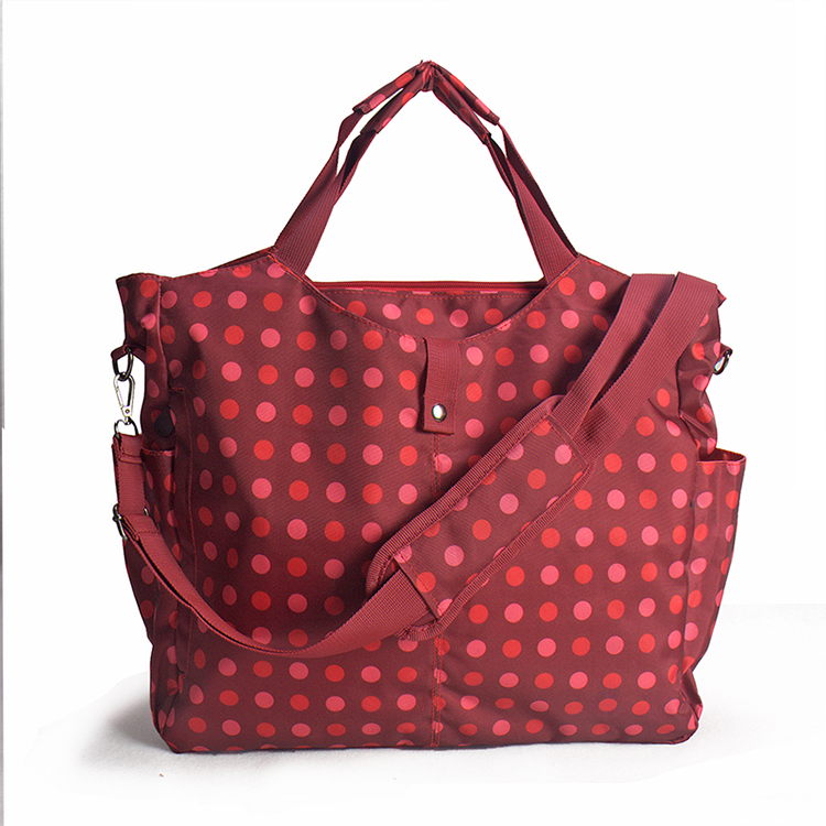 Large capacity red shopping multifunction diaper bag with bottle warmer