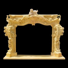 OEM available stone carving antique italian fireplace mantel