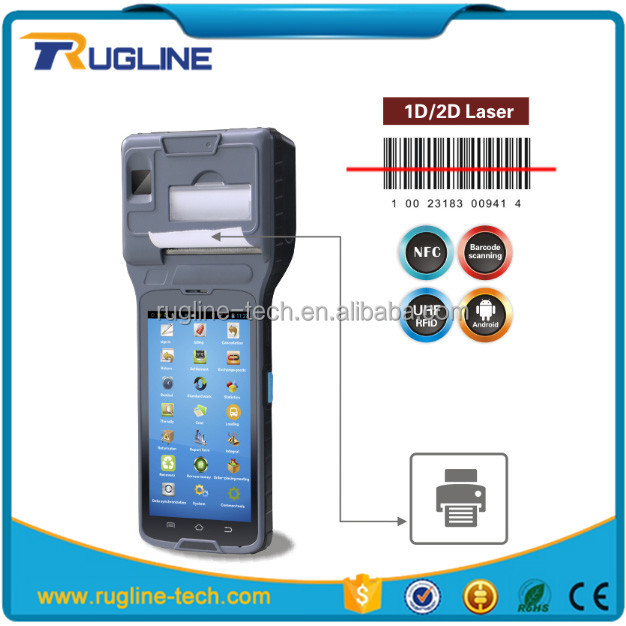 RT550 Android 4G mobile pos barcode Reader terminal handheld pda with built-in printer