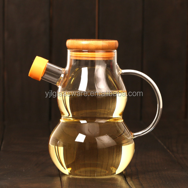 High quality glass cucurbit shape cooking oil bottle