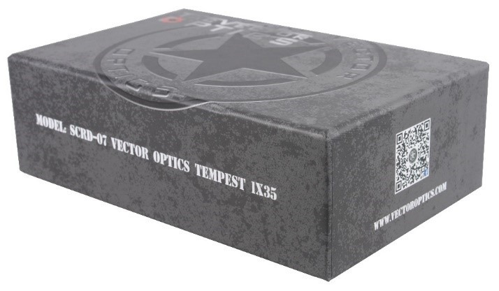Vector Optics Multi Reticle Tactical Tempest 1x35 Red Dot Scope Mil-spec Matte fit 20mm Picatinny Rail Finish AA Battery