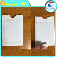 NO minumum cheap 2 strips adhesive plastic sleeve card holder