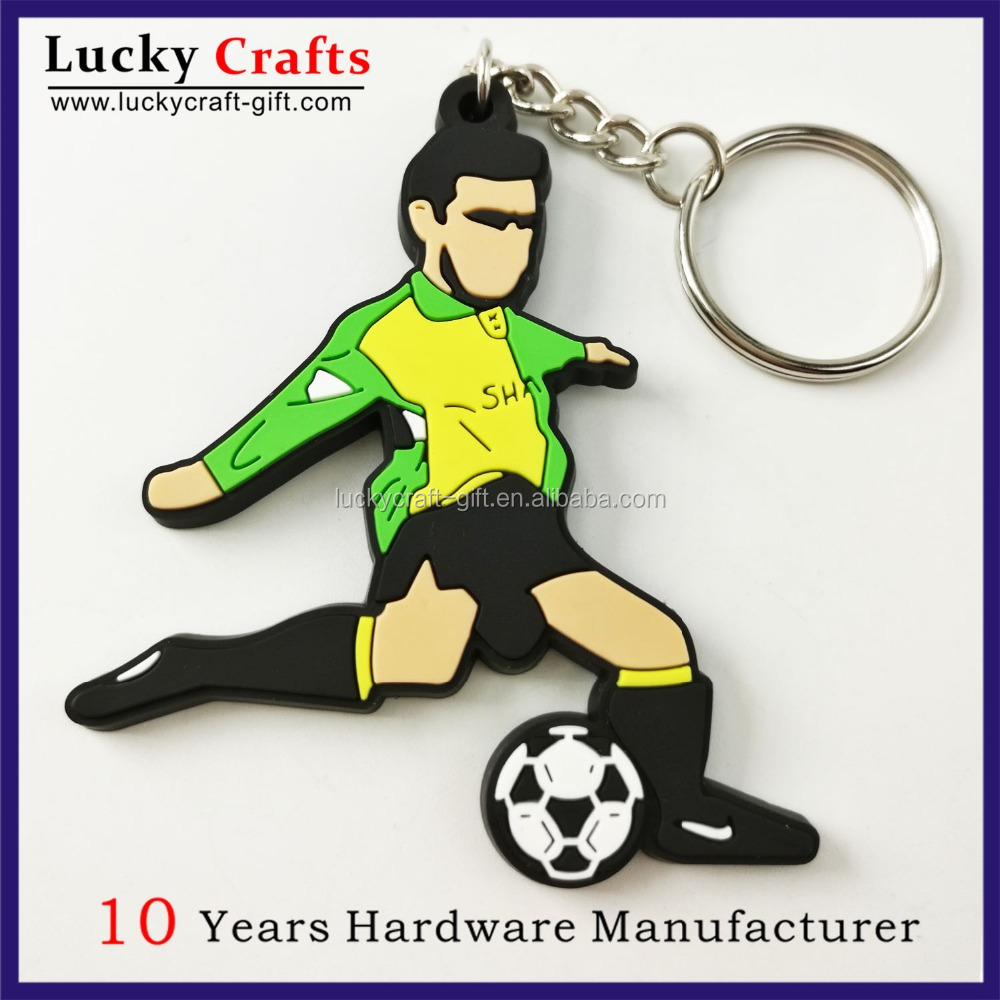 2D cheap custom practical good soft PVC football keychain maker
