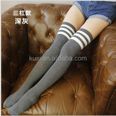 Custom Women Girl Cotton knit cheap Knee High Socks with Solid Color