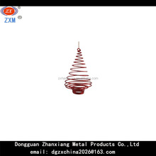 Christmas Decorations - RED METAL SPRING TREE SHAPE ORNAMENT
