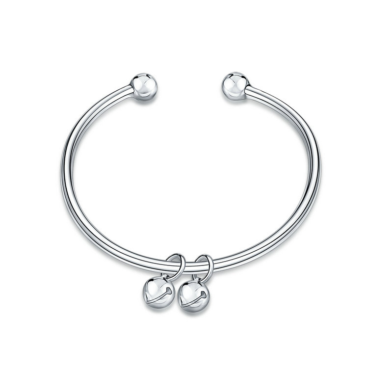 Jenia Small Bell Pendnat Jewelry Coupper Trendy Plated Silver Bangle For Women