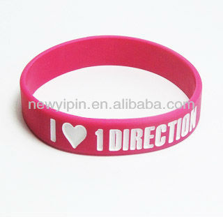 2016 I love ONE DIRECTION silicone rubber band 1D wrist band factory price & no mould charge