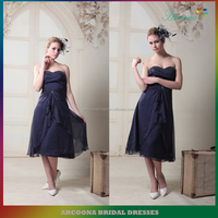 Blue Beading Knee-length Strapless Dress for wedding bridesmaid