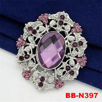 Fashion stocks purple stone wedding invitation brooch wholesale