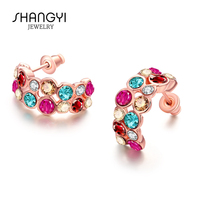 Cheap Jewelry Set Christmas Colorful Artificial Cluster Earrings
