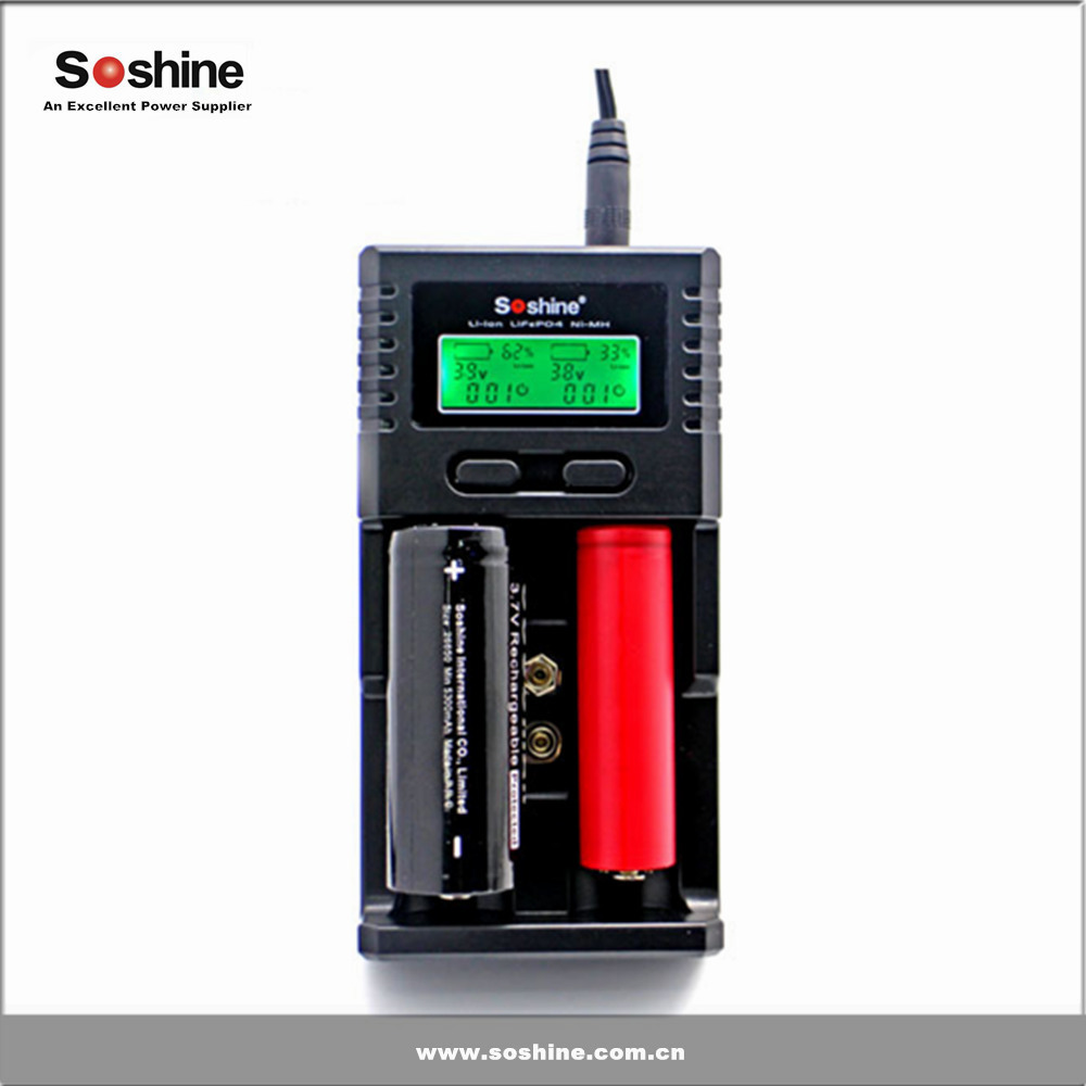 Soshine H2 multifuncation LCD screen dual slots 3.7V li-ion 18650 26650 battery Charger
